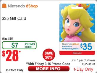 $35 Nintendo eShop Gift Card $28 AC @Frys (3/15 in-store)