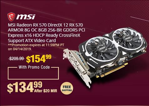 MSI Radeon RX 570 ARMOR 8GB OC Video Card $135 AR @Newegg