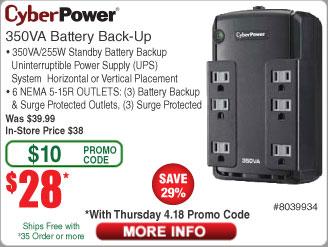 CyberPower 350VA Battery Back Up / UPS $28 AC @Newegg