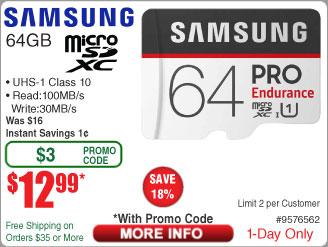 64GB Samsung Pro Endurance U1 microSDXC Memory Card w/ Adapter $13 @Frys