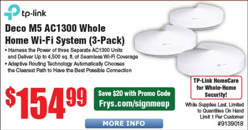 TP-Link Deco M5 AC1300 MU-MIMO Mesh Wi-Fi System 3-pk $135 AC @Frys