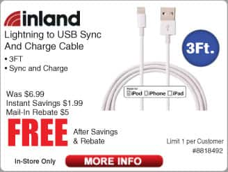 Inland 3-ft Lightning to USB Sync And Charge Cable - White Free after $5 Rebate @Frys