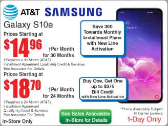 AT&T Samsung S10e Smartphone $450 (30 mos/24 mos)  @Frys (in-store)