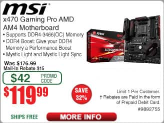 MSI X470 Gaming Pro AM4 Motherboard $120 AR @Frys