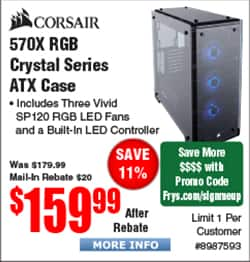 CORSAIR Crystal Series 570X RGB Tempered Glass, Mid Tower Case, White $120 AR @Frys
