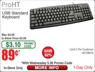 ProHT USB Standard Keyboard $0.89