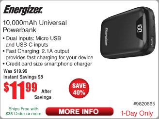 Energizer 10,000mAh Universal Powerbank $12 @Frys