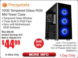 Thermaltake V200 Tempered Glass RGB Mid Tower Case $45 AR