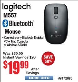 Logitech M557 Bluetooth Mouse $20 @Frys