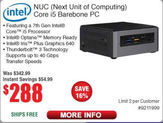 Intel NUC Barebone Kit (BOXNUC7I5BNH) $288 AC @Frys