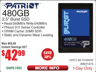 480GB Patriot Burst 2.5'' SSD $43 @Frys