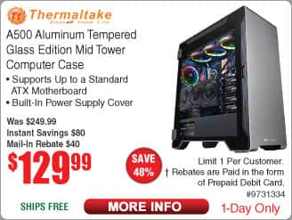 Thermaltake TT Premium A500 Tempered Glass Premium Mid Tower Aluminum Chassis $130 AR @Frys