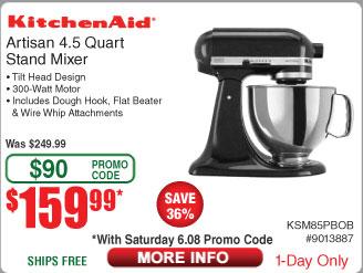KitchenAid Artisan 4.5-Quart Tilt-Head Stand Mixer - Onyx Black $160 AC @Frys
