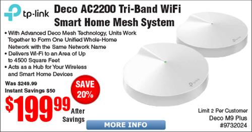 TP-Link Deco M9 Plus Mesh Wi-Fi System 2-pk $200 @Frys