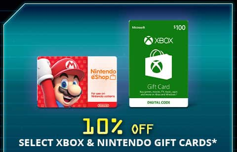 10% off Nintendo and XBox Gift Cards @Newegg  Xbox Gift Card $100 US (Email Delivery) $90 AC,