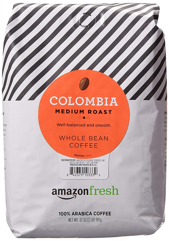 32 Ounce Bag AmazonFresh Colombia Whole Bean Coffee (Medium Roast) - $11.71 AC & S&S @amazon