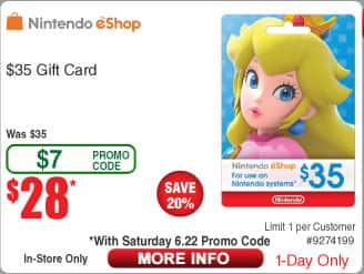 $35 Nintendo eShop Gift Card $28 AC @Frys (in-store 6/22) $50 Steam