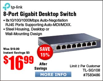 TP-LINK TL-SG108 8-port Gigabit Switch $17 @Frys