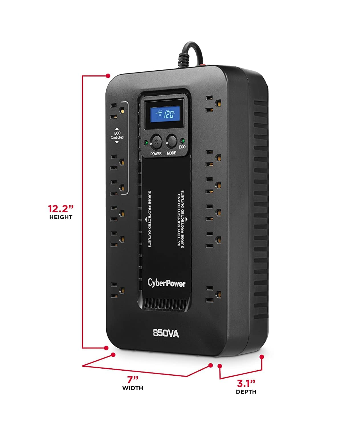 CyberPower Ecologic 12-Outlet 850VA 510W LCD UPS  @Newegg $64.99