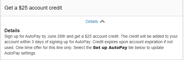 AT&T Prepaid $25 Credit for AutoPay Signup
