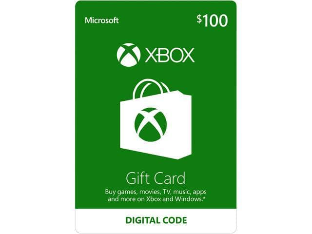Xbox Gift Card $100 US (Email Delivery)  @Newegg $90
