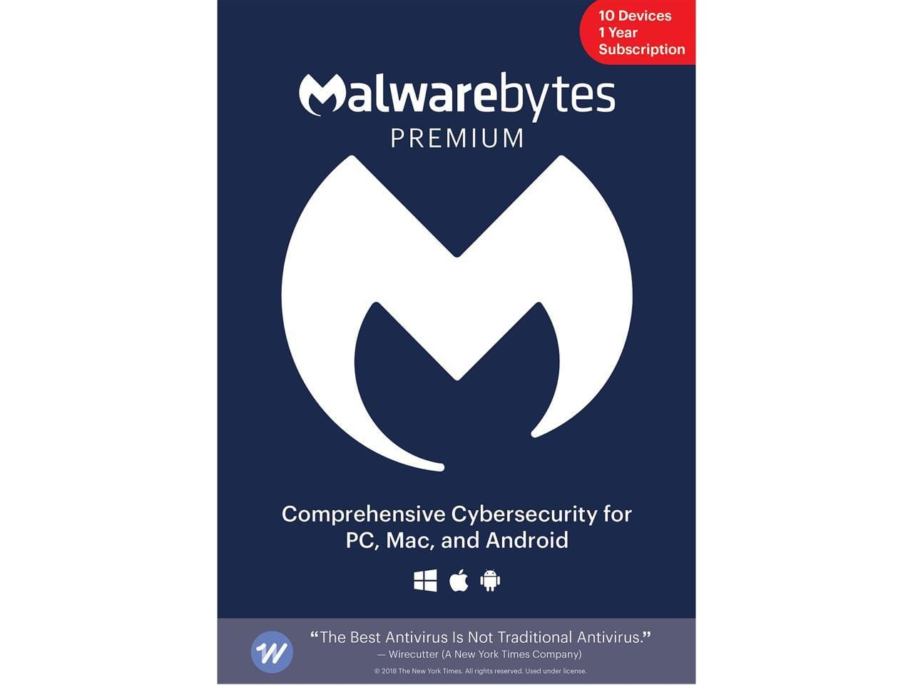 Malwarebytes Anti-Malware Premium 3.0 - 10 Devices / 1 Year [Download] |  Key Card @Newegg $50