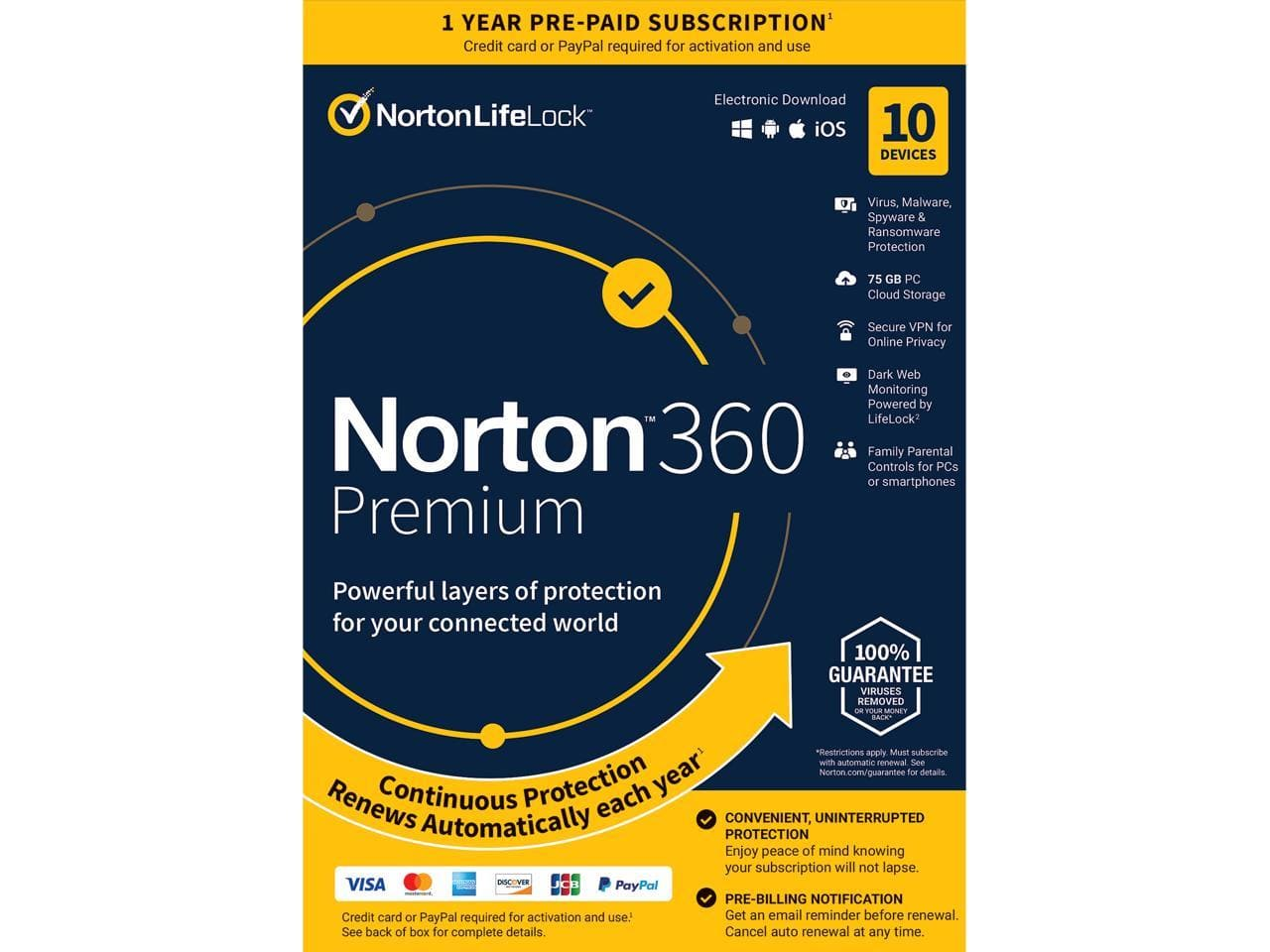 Norton 360 Premium 2021 - Antivirus Software (10 Devices) with Auto Renewal [Key card] | DL $22 @Newegg; ($40 bundled w/Block Tax Deluxe + State)