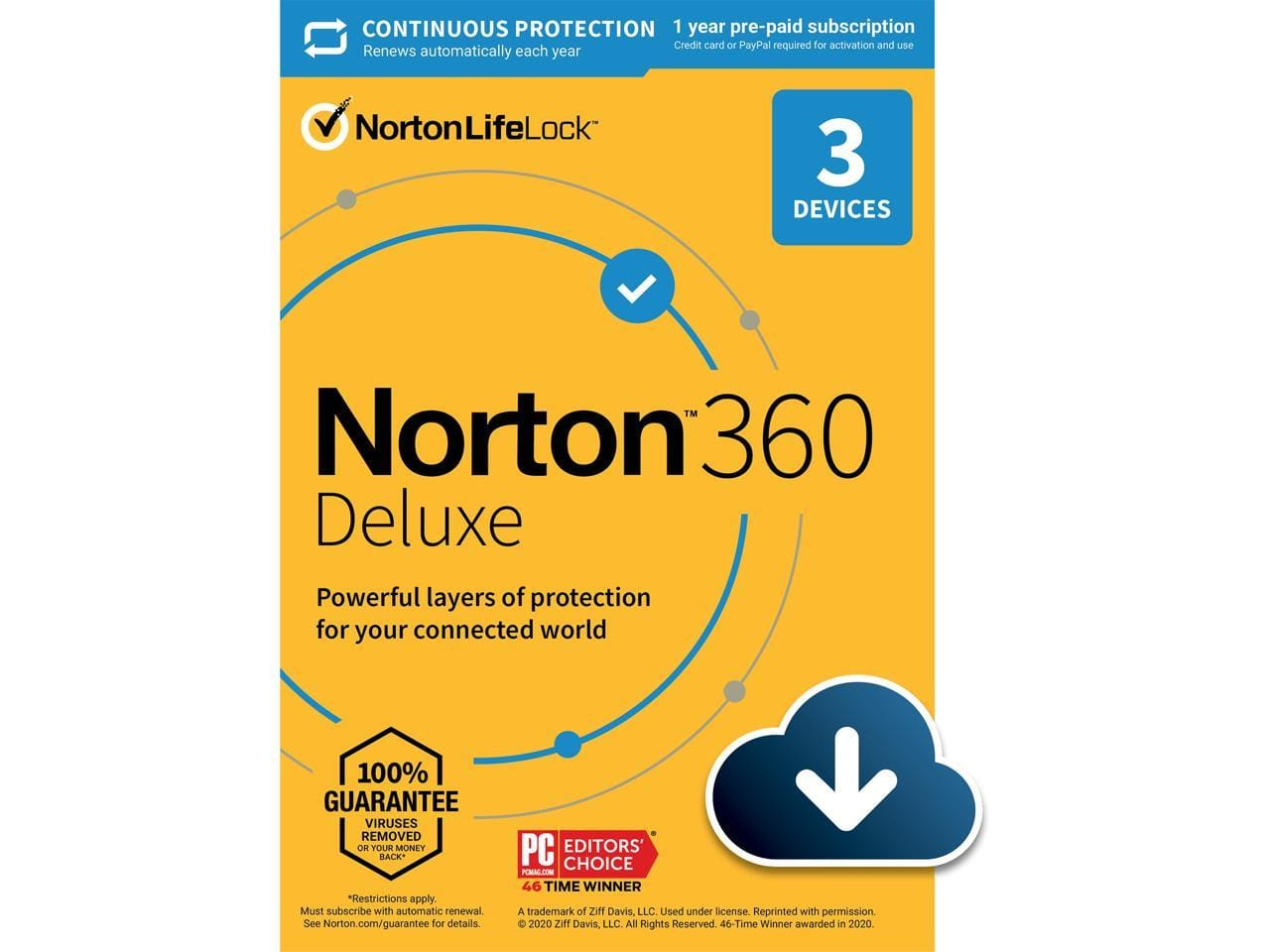 Norton 360 Deluxe 2021 - Antivirus software for 3 Devices with Auto Renewal - Includes VPN, PC Cloud Backup & Dark Web Monitoring (DL) @Newegg $13