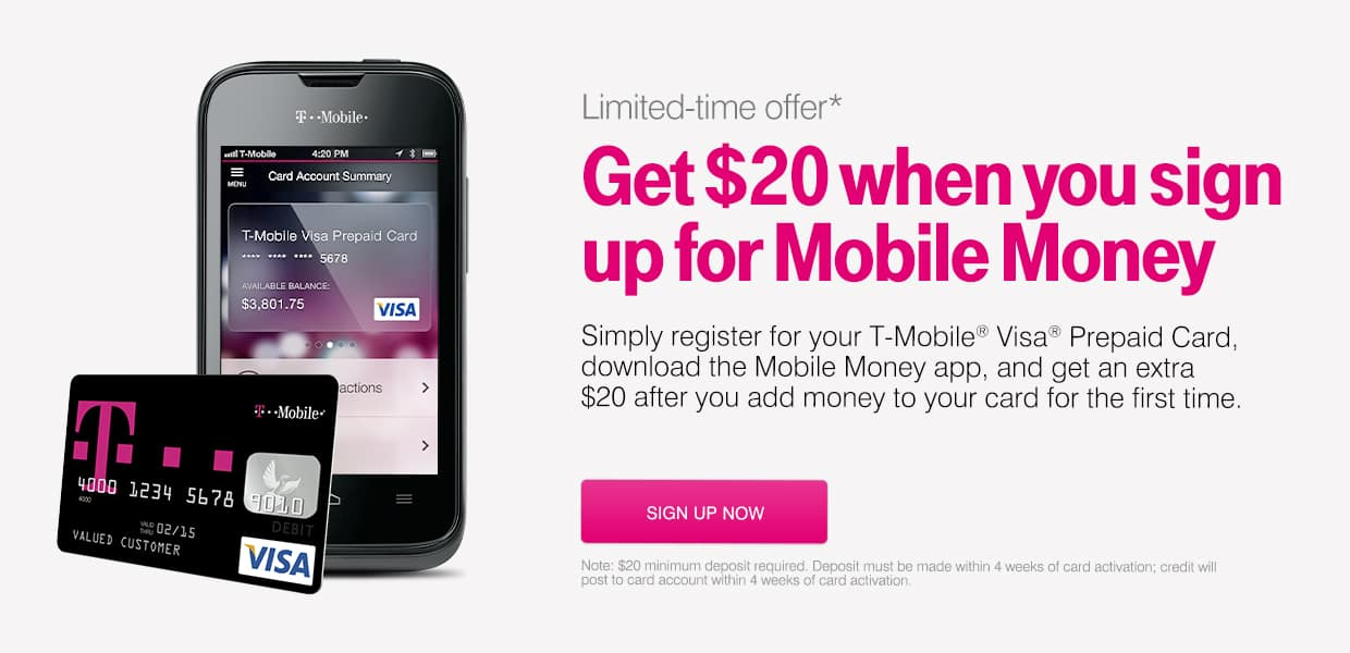 T-Mobile: Try Mobile Money and get $20 on your 1st deposit