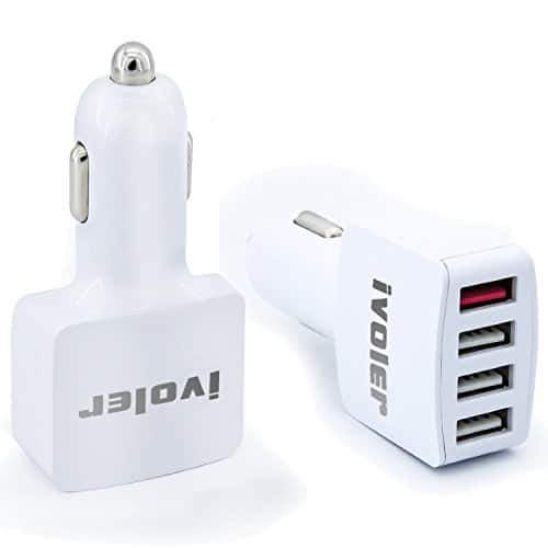 iVoler 54W 4 Ports Adaptive Fast Charging USB Car Charger with Quick Charge 2.0 Includes a 20AWG 6.6FT/2M Micro USB Cable w/ Code $4.95 FS w/ Prime