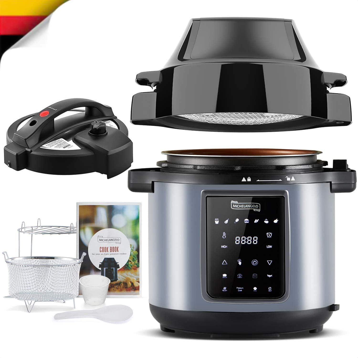 MICHELANGELO 6 QT Pressure Cooker Air Fryer Combo, All-in-1 Pressure Cooker with Air Fryer - Two Lids for Pressure Cooker,Large Pressure Fryer,Air Fryer, Rice,Slow Cooke $84.99