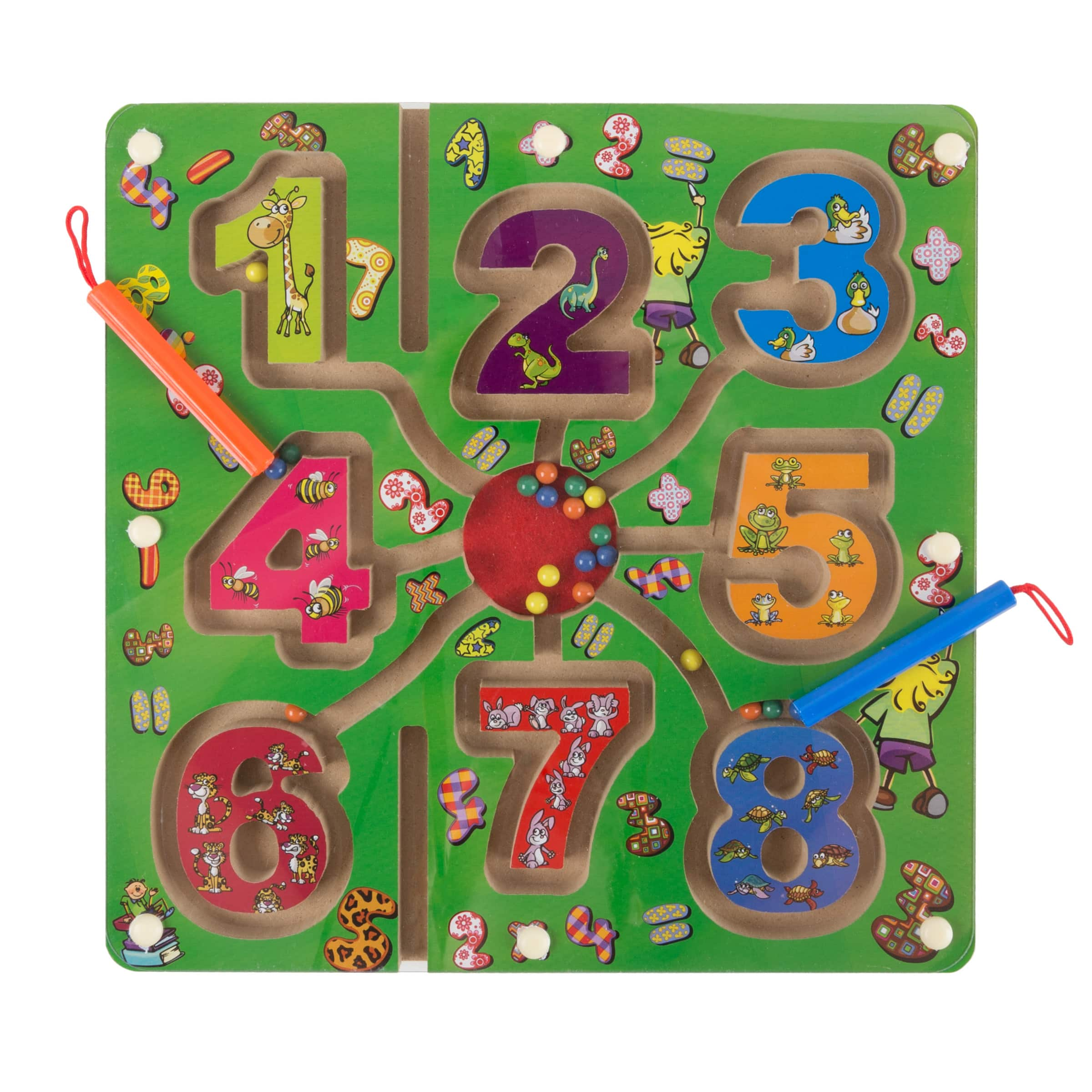 Wooden Number Maze-Colorful Zoo Animal Toy with 2 Magnet Pens-Activity Board Educational STEM Learning Toy for Preschool Boys and Girls $7.5