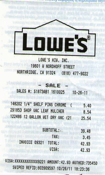 Lowe's clearance - Shop-Vac 12gal 5.5hp $25.54 & Mulcher attachment $8.54