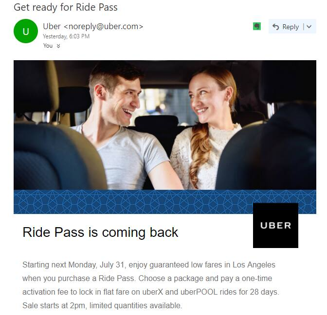 Uber Flat Fare is back in Aug. 2017 @Los Angeles