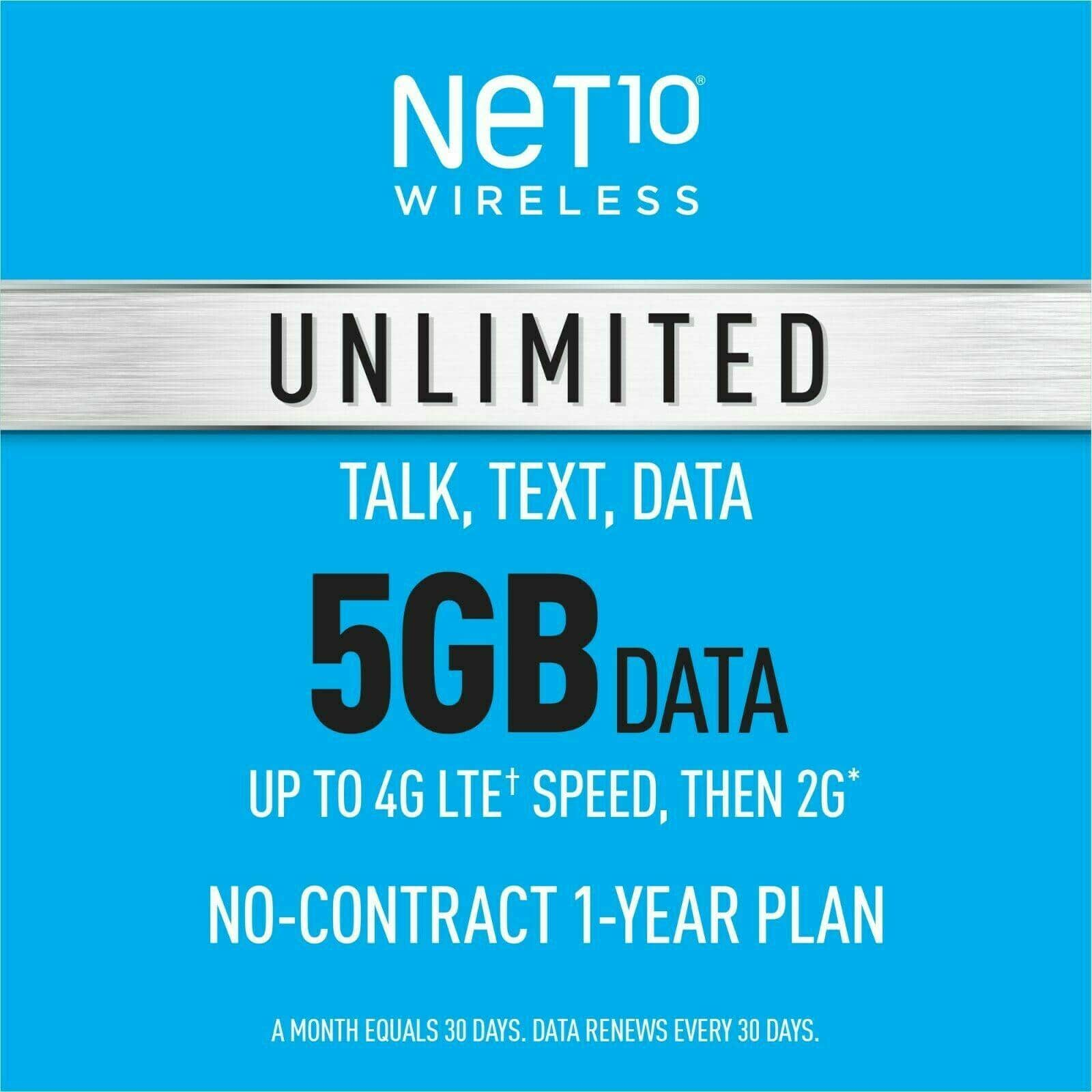 1-Year Net10 Wireless Prepaid Plan: Unlimited Talk, Text & 5GB LTE / Unlimited 2G Data Per Month on AT&T or T-Mobile Network - $159.99 ($13.33/month)