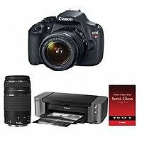 Focus Camera Deal: Canon EOS Rebel T5 w/ 18-55mm + 75-300mm Lens & Pro-10 Printer