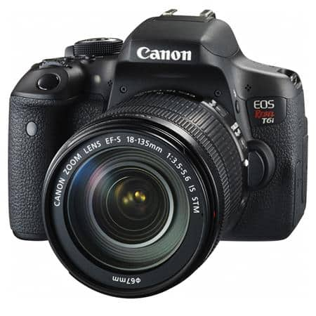 Canon T6i DSLR + 18-135mm f/3.5-5.6 IS STM Lens + PRO-100 Bundle  $749 after $350 Rebate + Free S&H