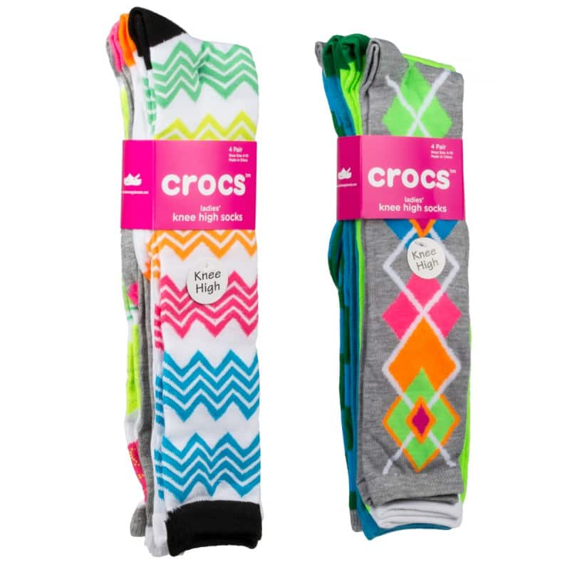 8-Pairs Crocs Women's Knee High Socks (Assorted Colors)  $12 + Free Shipping