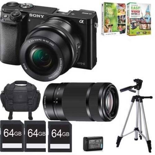 Sony Alpha A6000 Camera Bundle w/ 16-50 + 55-210 Lens & More  $696 + Free Shipping
