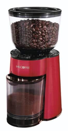 Mr. Coffee Automatic Burr Mill Grinder, Red Stainless Steel $27.99