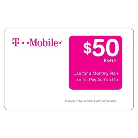 T-Mobile Prepaid Card (Email Delivery): 10% Off: $50 Card  $45 & More