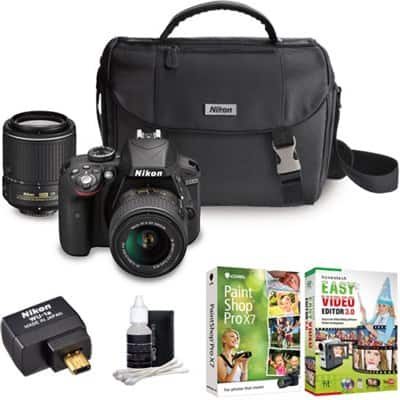 Nikon D3300 DSLR w/ 18-55mm & 55-200mm VR II Lenses (Refurbished) + WiFi Adapter + Case  $395 + Free Shipping