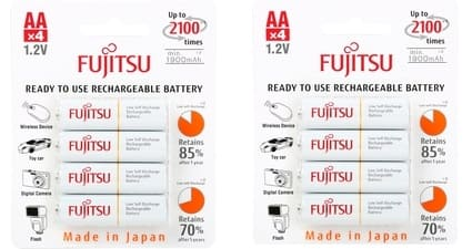 2 Ct. of Fujitsu 4-Pack 2000 mAh AA 2100 Cycle Ni-MH Pre-Charged Rechargeable Batteries (HR-3UTCEX(4B) for $13.98 + Free Shipping @ Newegg.com