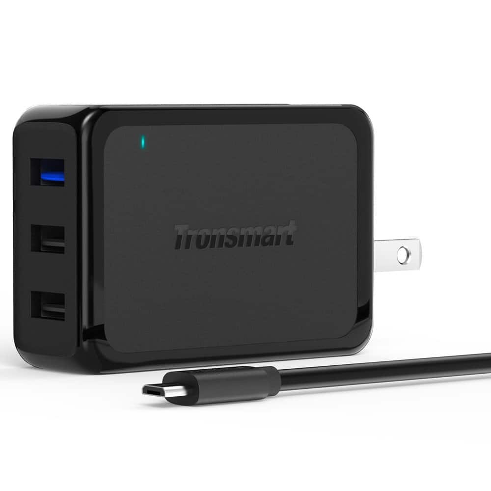 Quick Charge 2.0, Tronsmart 42W 3-Port USB Wall Charger + 6FT Micro USB Cable $9.50 AC