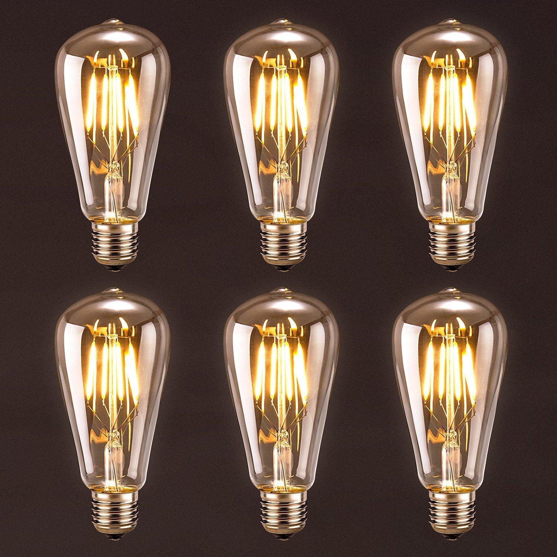 6-Pk Oak Leaf Dimmable Edison Style LED Light Bulbs  $19