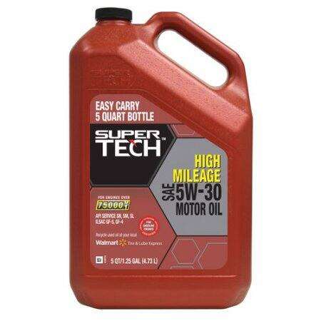 5-Qt Super Tech High Mileage Motor Oil (various grades)  $10 + Free Store Pickup