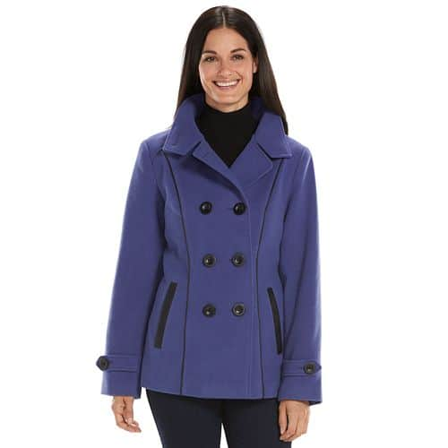Kohl's Cardholders: Croft & Barrow Women's Double-Breasted Faux Wool Peacoat  $11.20 + Free Shipping