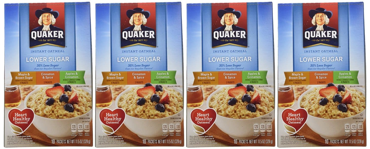 4-Pack of 10-Count Quaker Instant Oatmeal (Lower Sugar - Variety Pack) $7.89 or less + Free Shipping