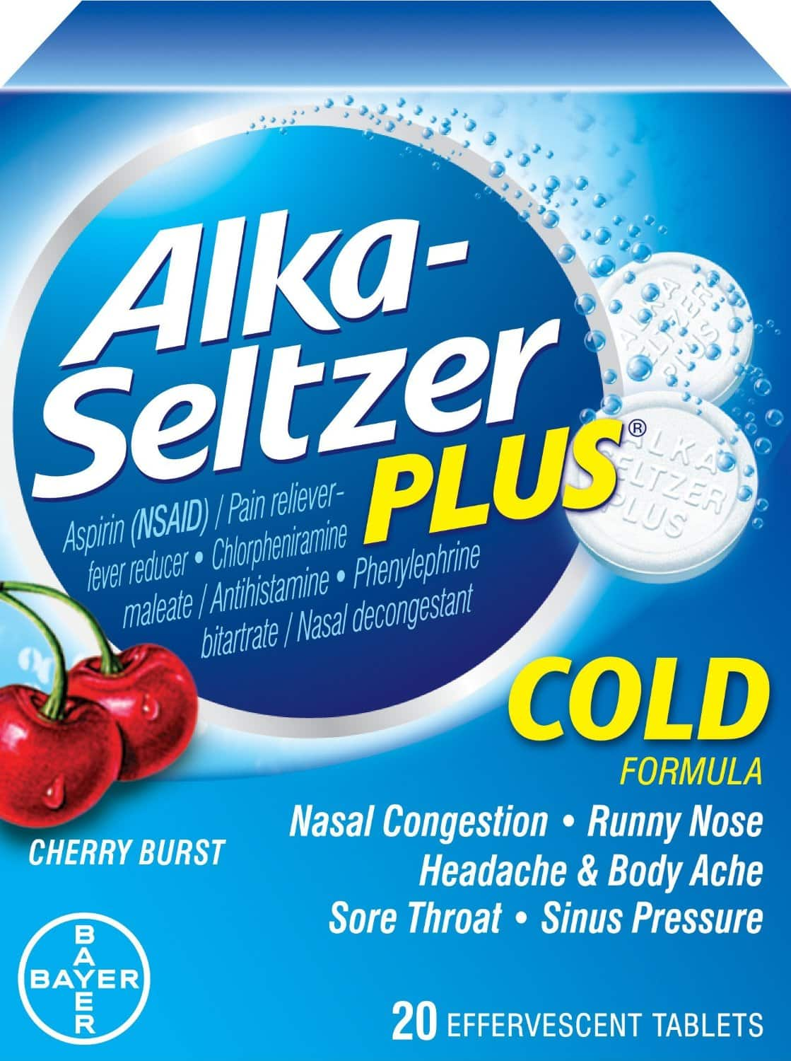 20-Count Alka-Seltzer Plus Effervescent Tablets (Cherry Zest)  $3.70 + Free Shipping