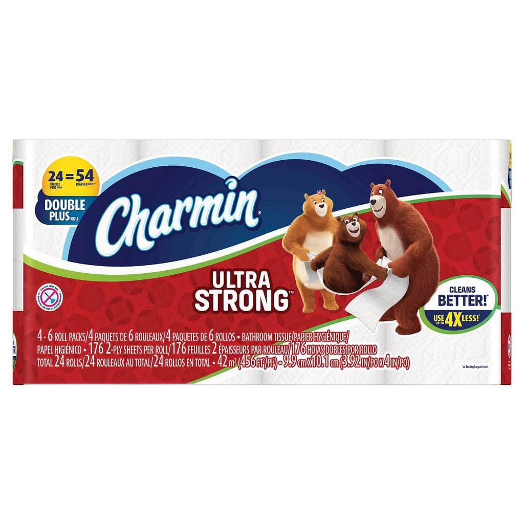 48-Count Charmin Ultra Strong or Ultra Soft Double Plus Roll Toilet Paper + $5 Target Gift Card $22.38 + Free Shipping